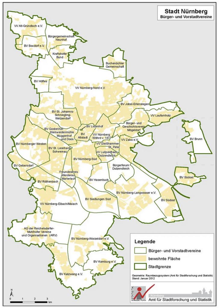Stadtplan Nuernberg mit Bürgervereinen